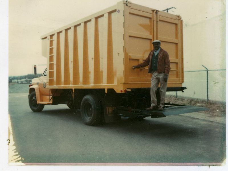 Truck from 1970s with DPW staff